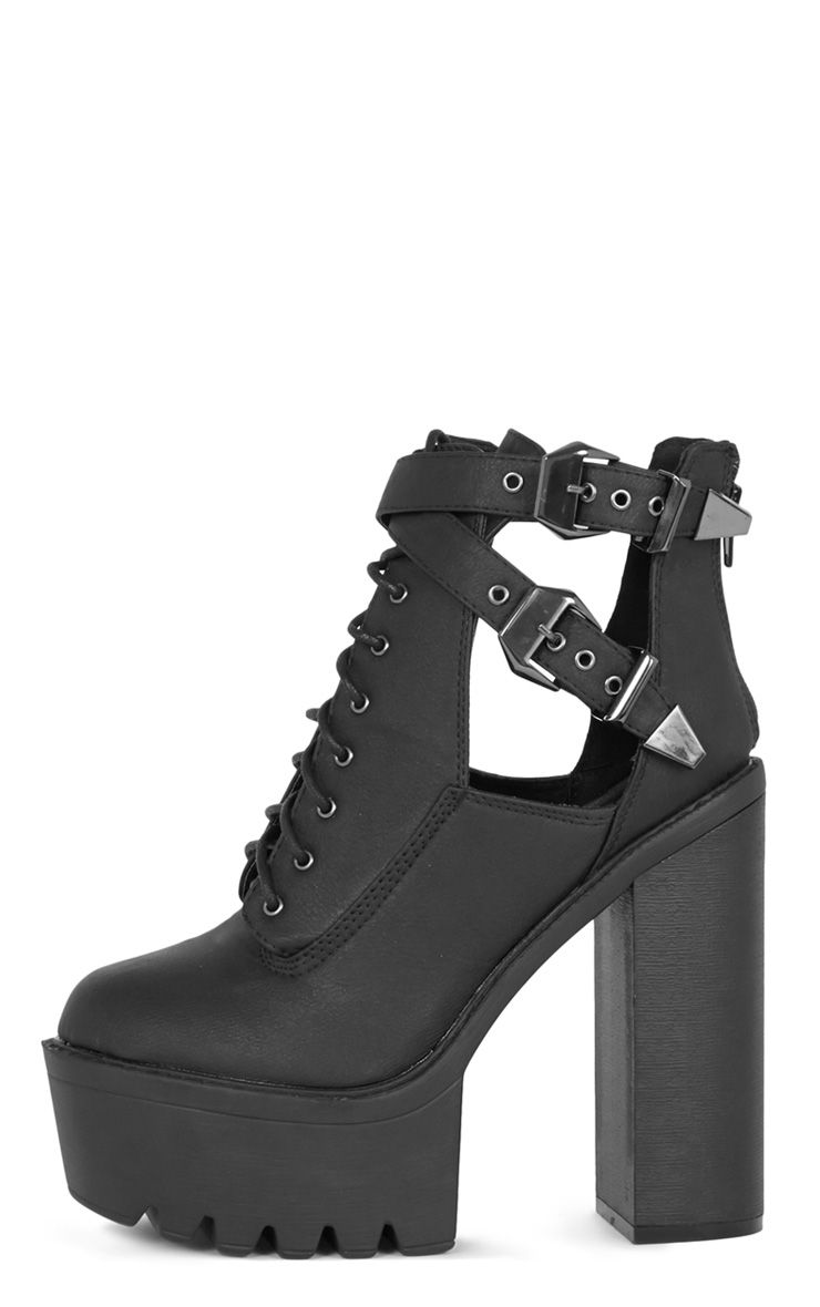 Oriana Black Cleated Sole Extreme Heel Boot  1