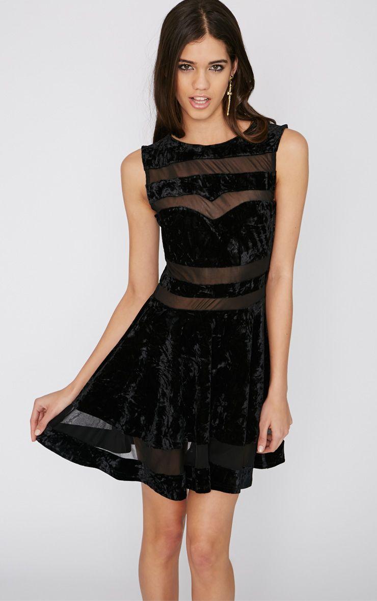 Aubree Black Velvet Mesh Skater Dress 1