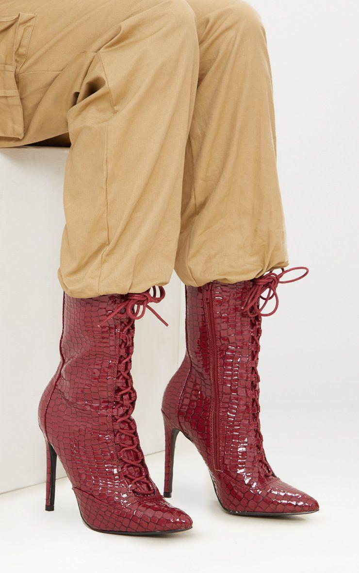 Burgundy Patent Croc Lace Up Boots