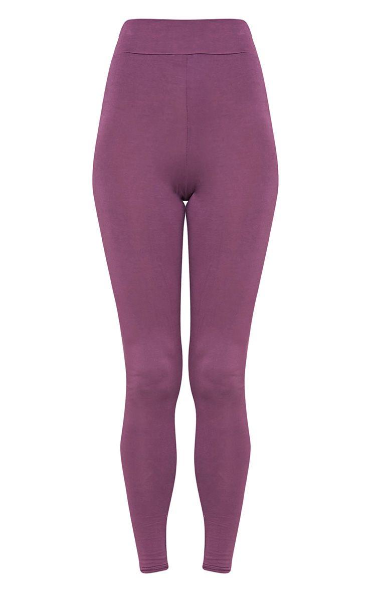 Basic legging aubergine taille haute en jersey 3