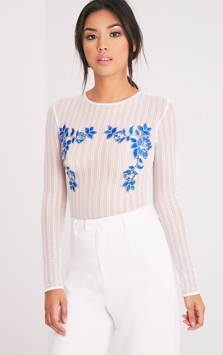 Jarah White Floral Applique Mesh Thong Bodysuit