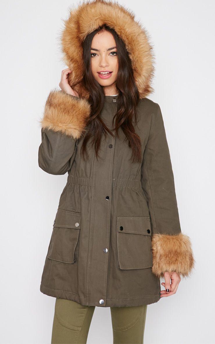 Pamela Khaki Fur Detail Parka Coat 1