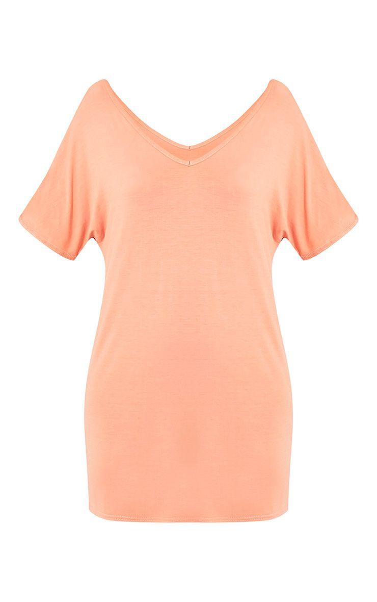 Basic robe t-shirt à col en V pêche foncé 3