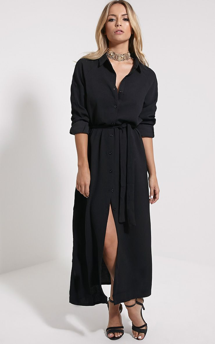 Ayla Black Longline Crepe Shirt Dress 1