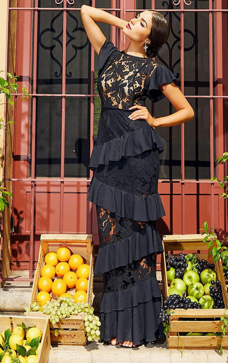 Black Lace Ruffle Detail Maxi Dress
