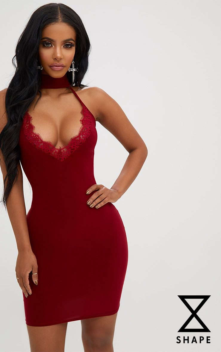 Shape Burgundy Lace Trim Plunge Choker Dress