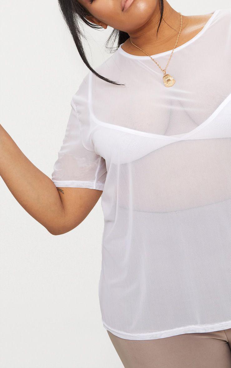 Plus White Sheer Mesh Oversized T Shirt