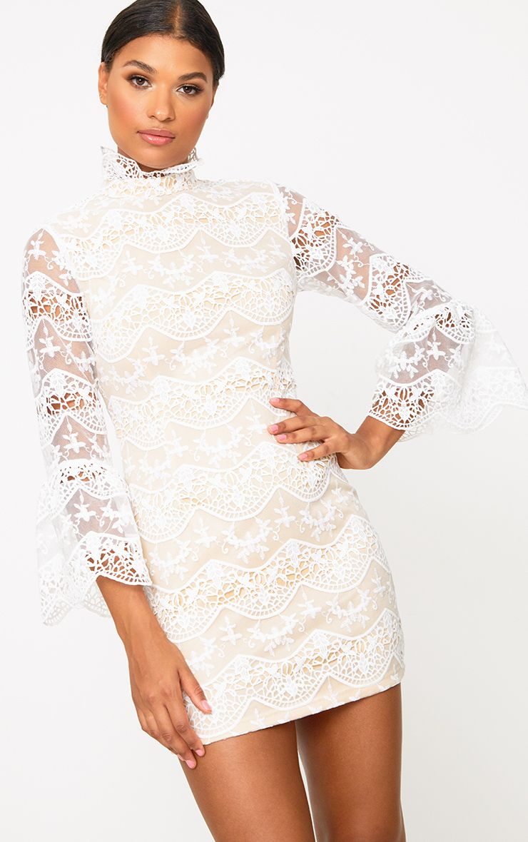 White Lace High Neck Frill Sleeve Bodycon Dress