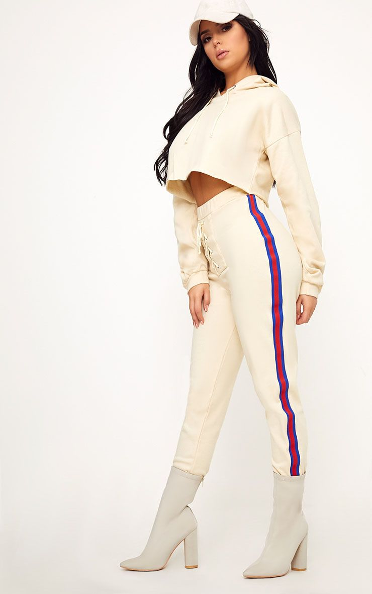 Shape Caila Cream Lace Up Side Stripe Detail Joggers