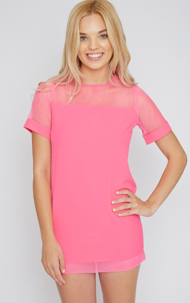 Brogan Neon Pink Mesh Tshirt Dress  1