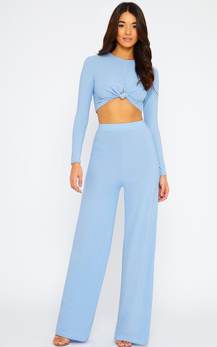 Zafia Powder Blue Crepe Palazzo Trousers 1