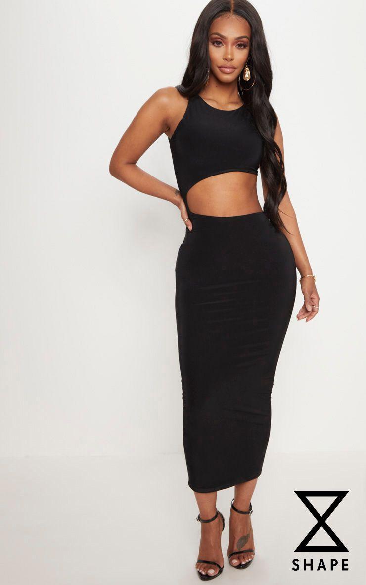 Shape Black Extreme Cut Out Midaxi Dress