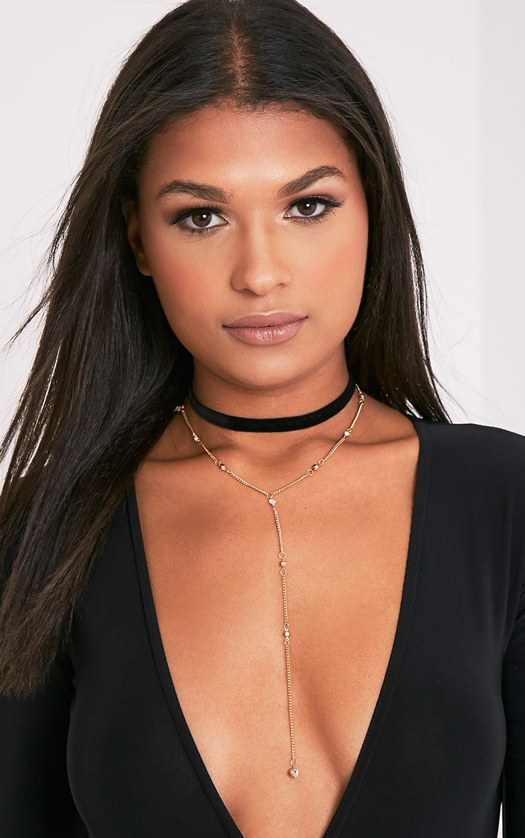 Paulia Gold Drop Detail Double Layered Choker