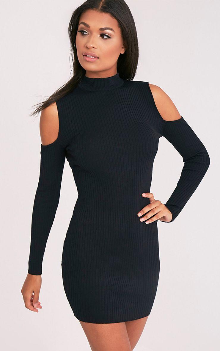 Ysabel Black Cold Shoulder Ribbed Knitted Mini Dress 1