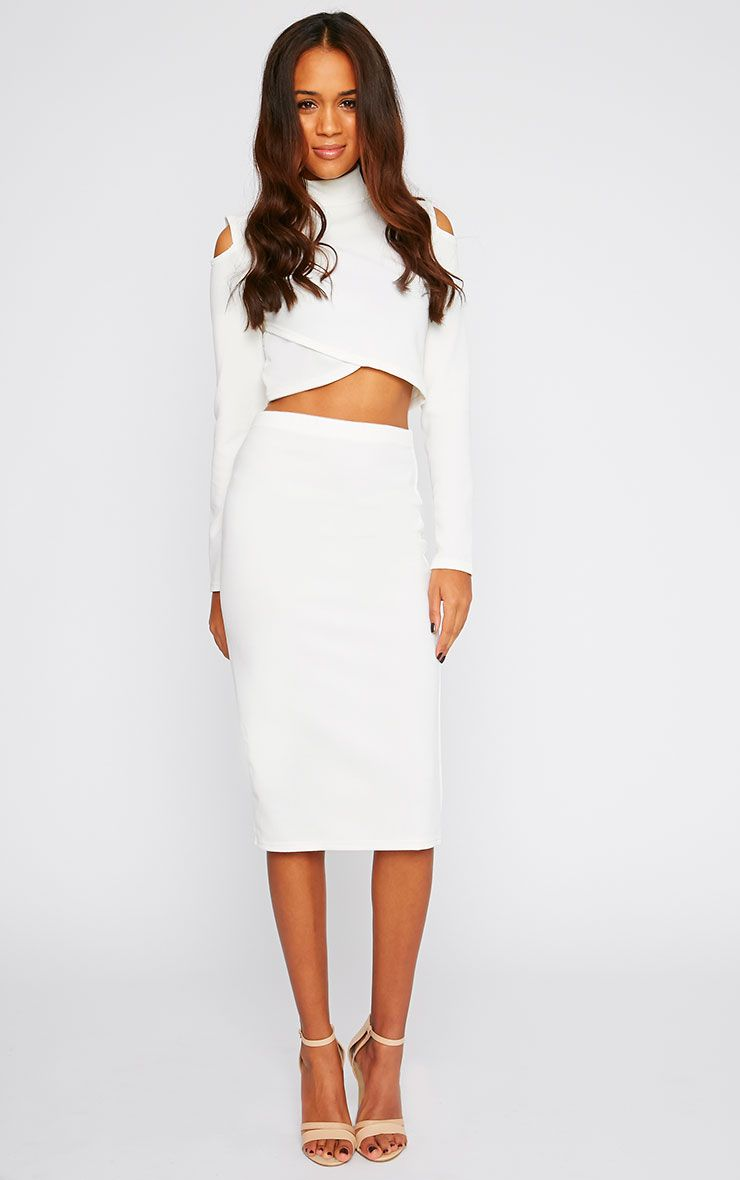 Alina Cream Crepe Midi Skirt 1