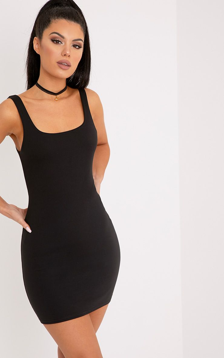 Carolin Black Scoop Neck Bodycon Dress