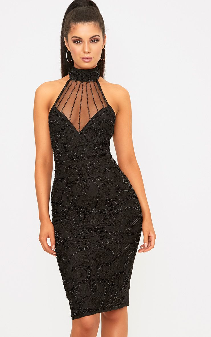 Celene Black Halterneck Beaded Lace Midi Dress