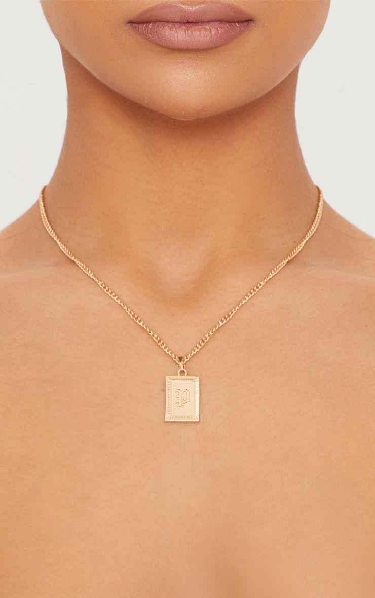 Gold Square Letter P Pendant Necklace 1