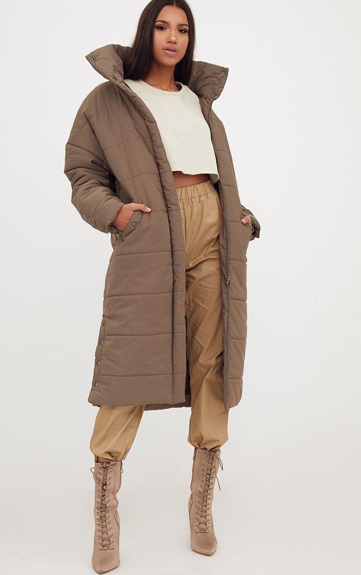 Premium Khaki Longline Puffer Jacket