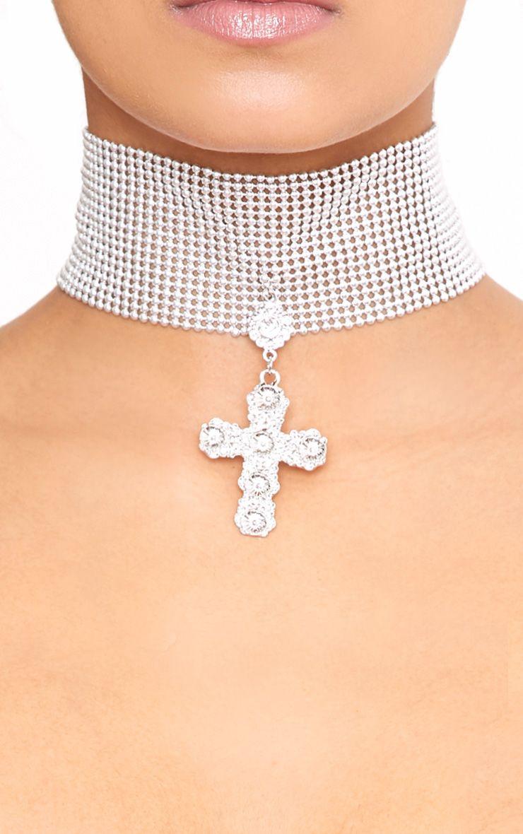 Beryl Silver Chainmail Cross Choker