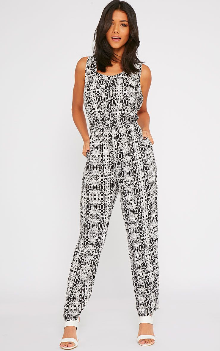 Mona Black All Over Printed Jumpsuit 1