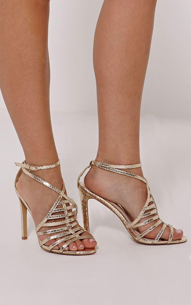 Pamela Gold Strappy Heeled Sandals 1