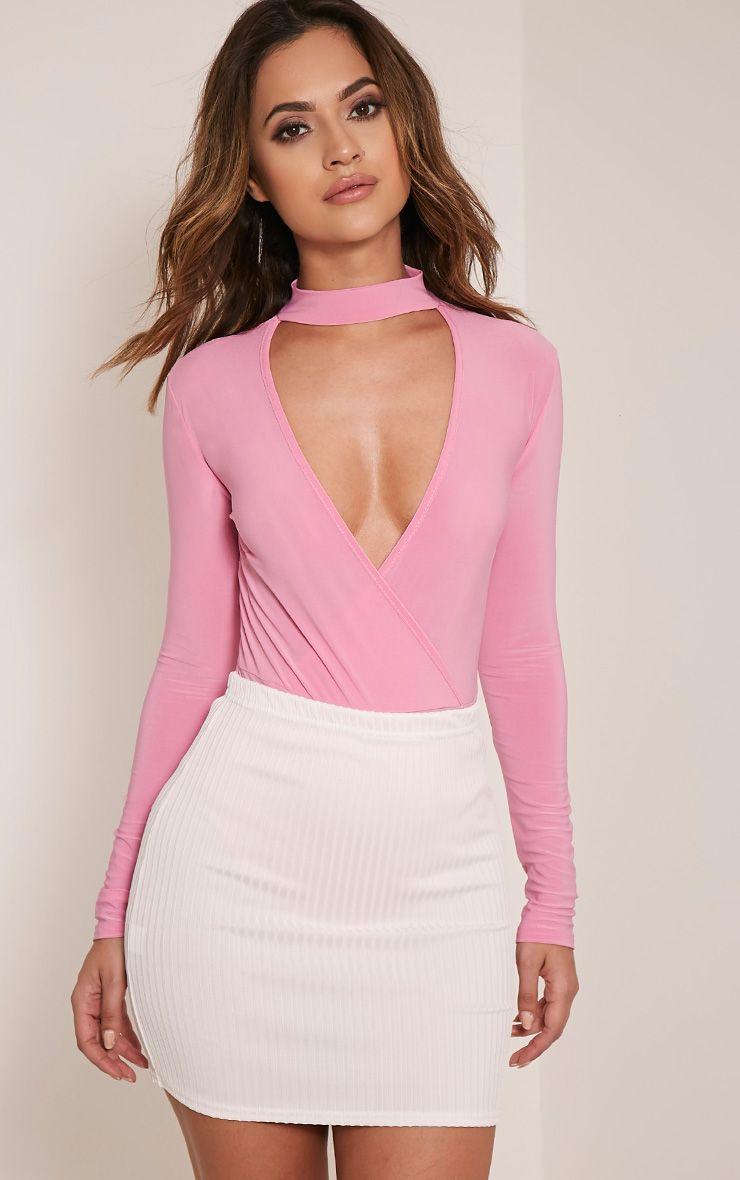 Sherrie Bubblegum Pink Cross Front Choker Bodysuit 1