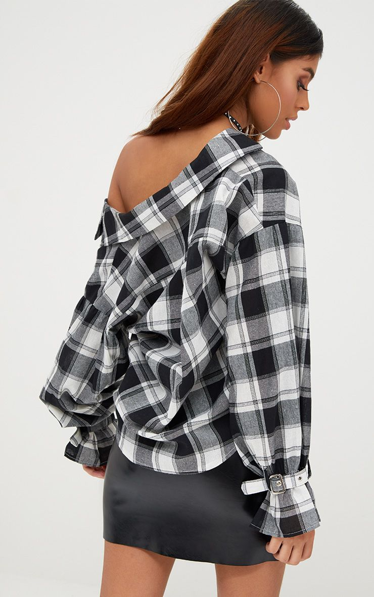 Divya Black Check Cuff Sleeve Off Shoulder Shirt