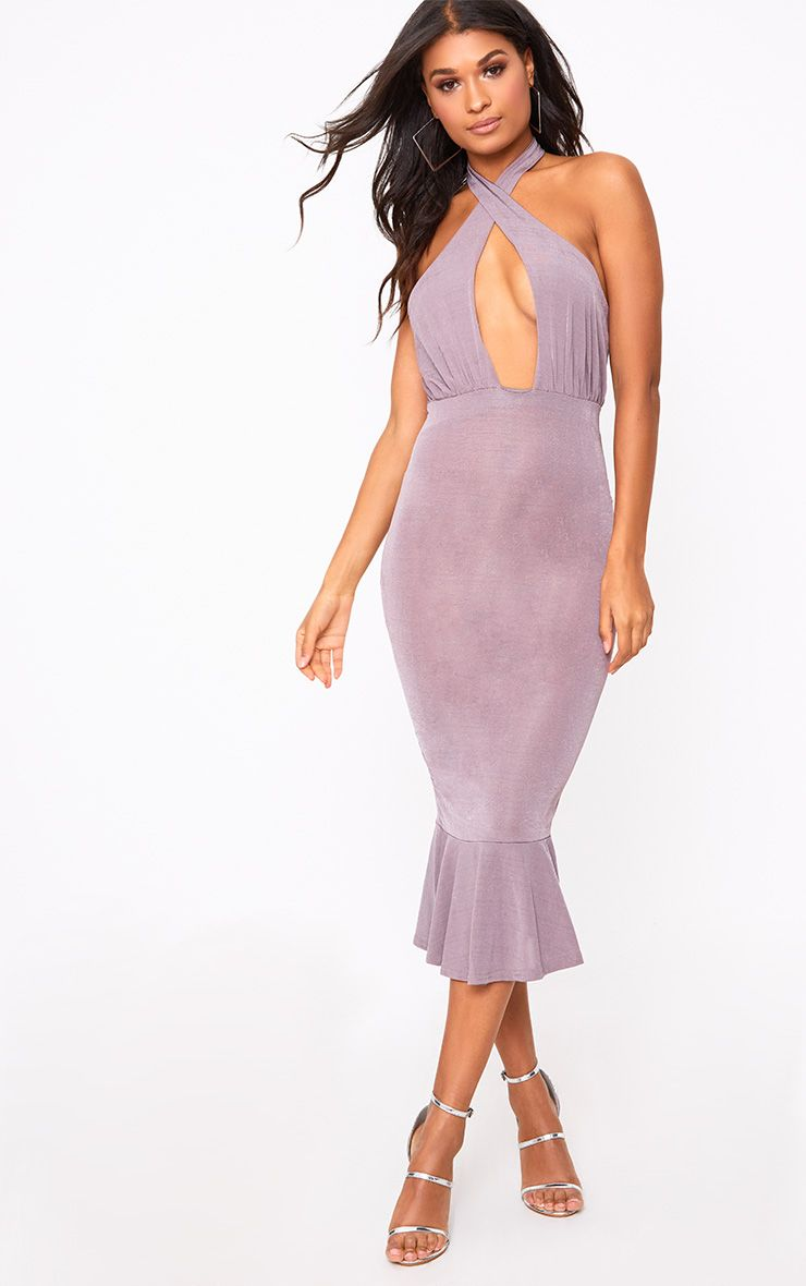 Mauve Cross Neck Frill Hem Midi Dress
