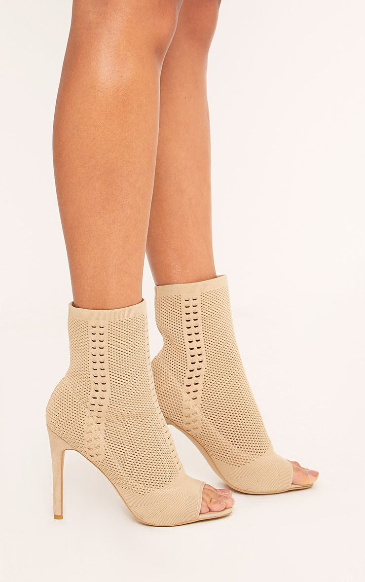 Donna Nude Knitted Peep Toe Sock Boots