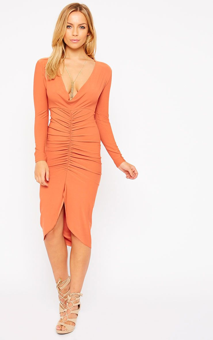Zoey Rust Ruched Midi Dress 1