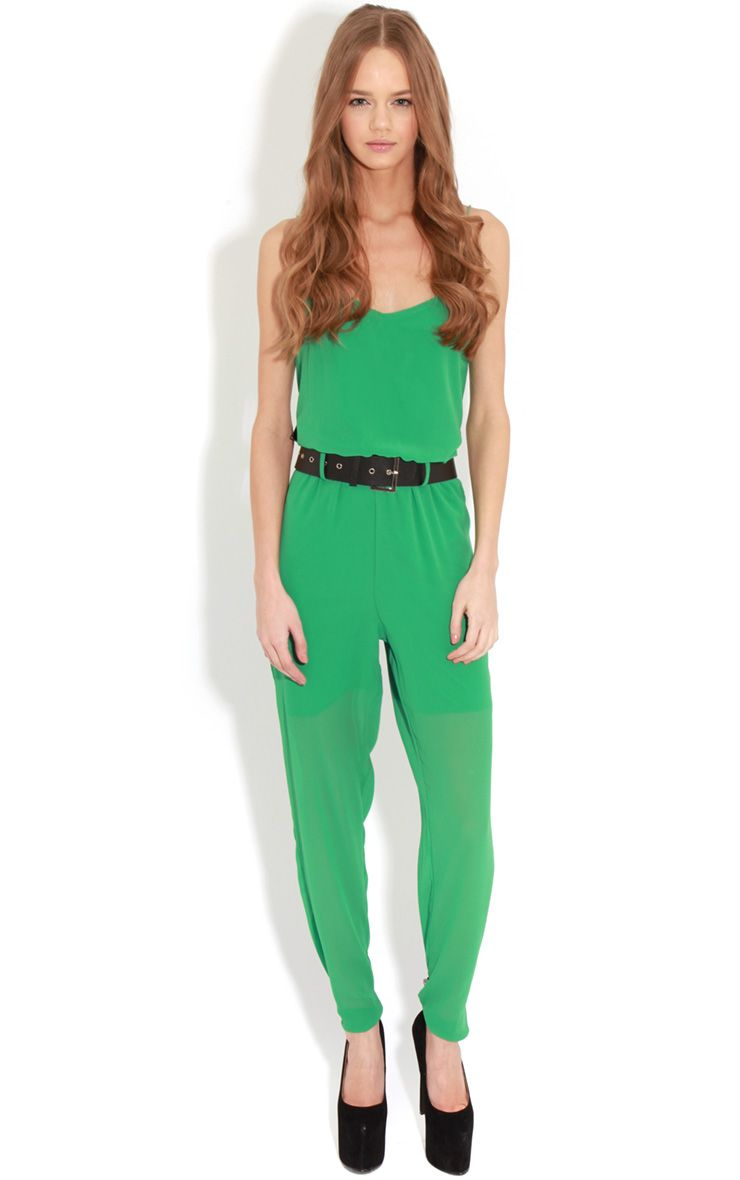 Annabel Green Chiffon Strappy Jumpsuit 1