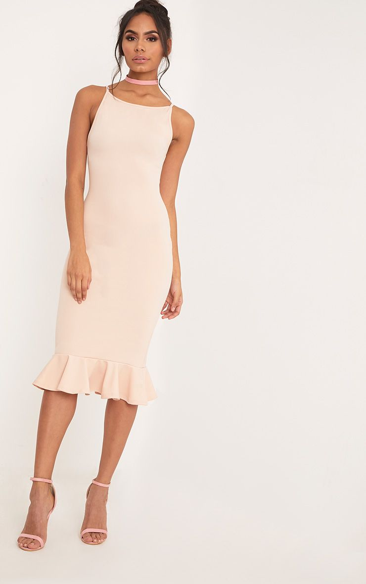 Freada Nude Square Neck Frill Hem Midi Dress