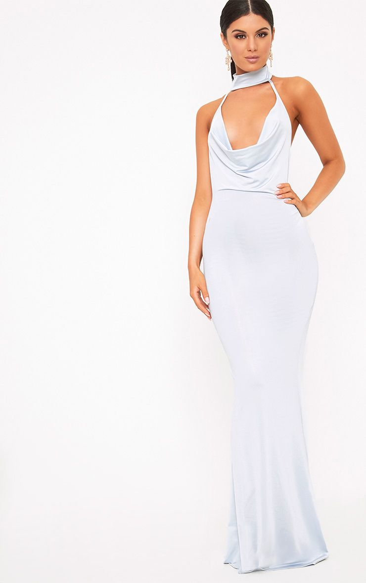 Yasmeen Dusty Blue Slinky Cowl Neck Maxi Dress
