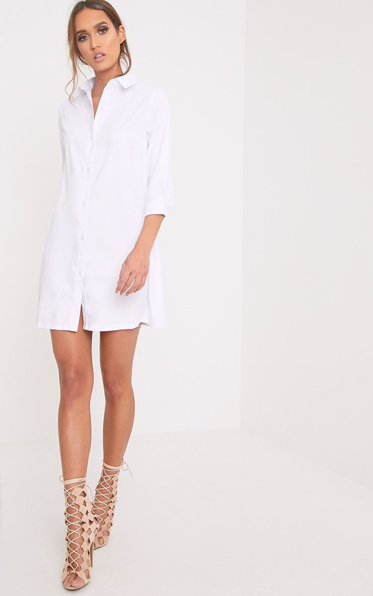 Leni White Shirt Dress
