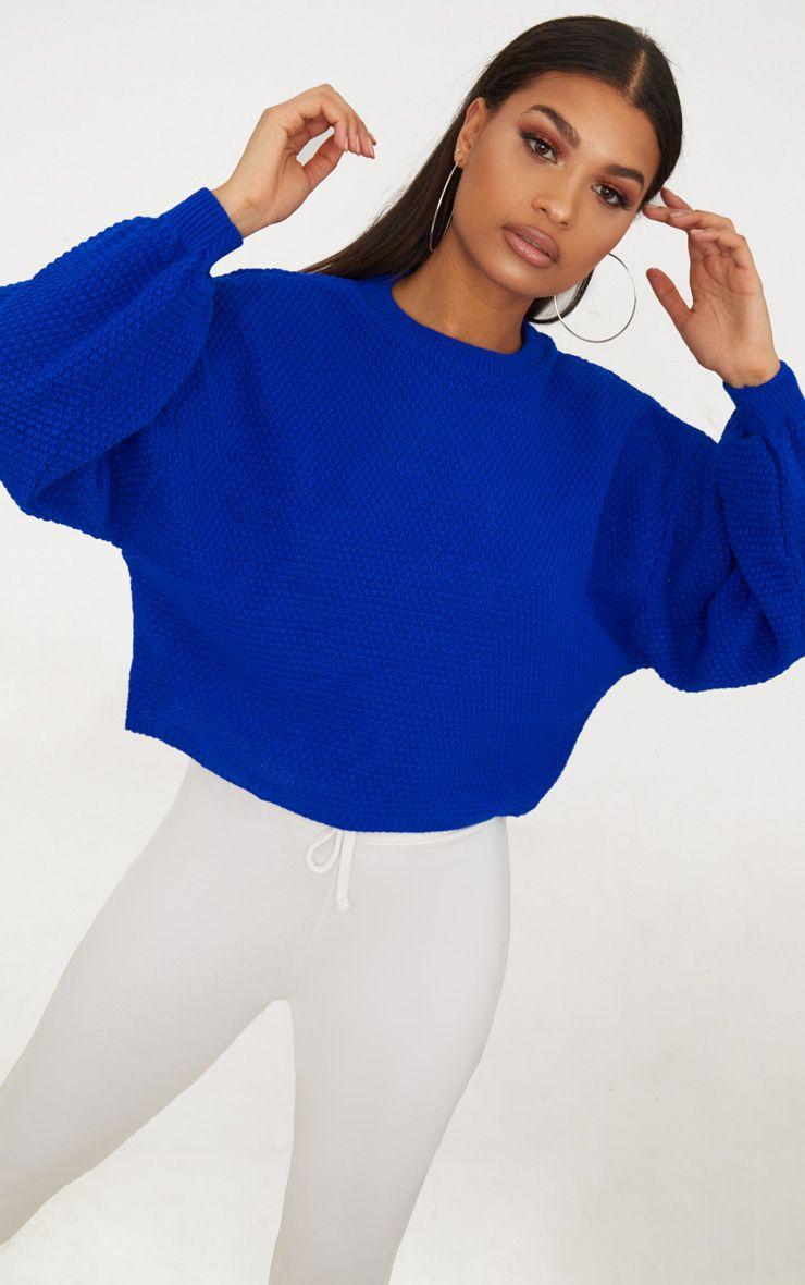 Pull tricoté à manches ballon cobalt