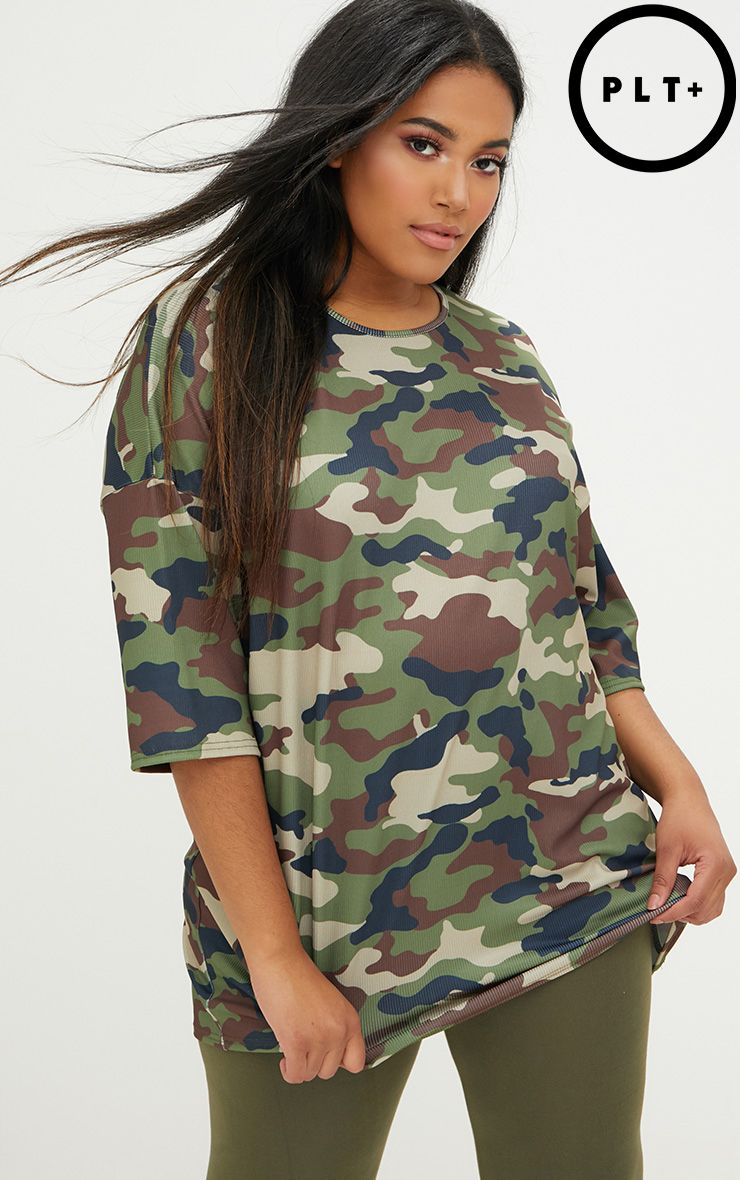 Plus Green Camo Size Ribbed Oversized Tee