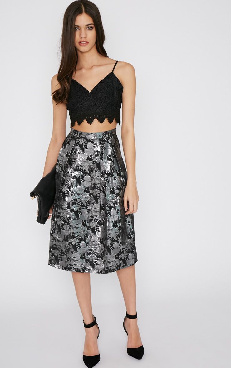 Iva Silver Floral Print A Line Skirt  1