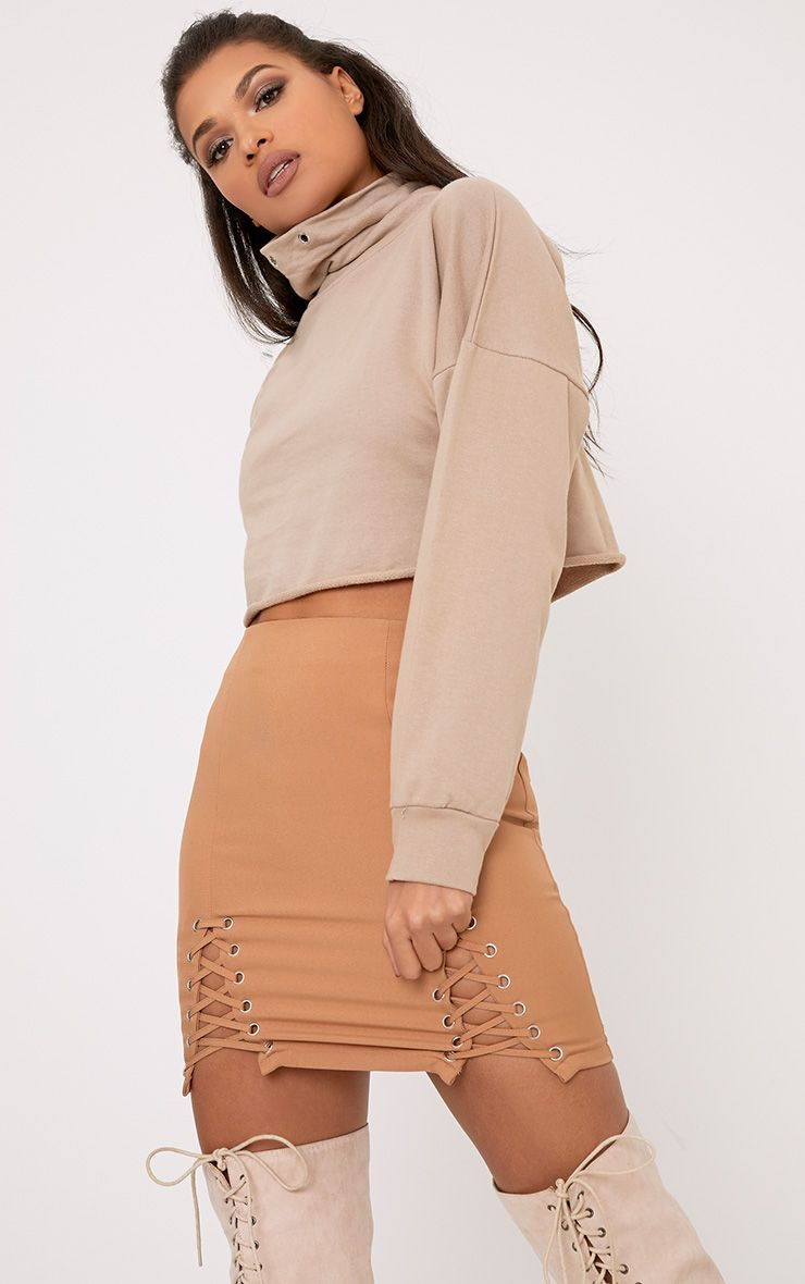 Cailin Taupe Funnel Neck Sweater