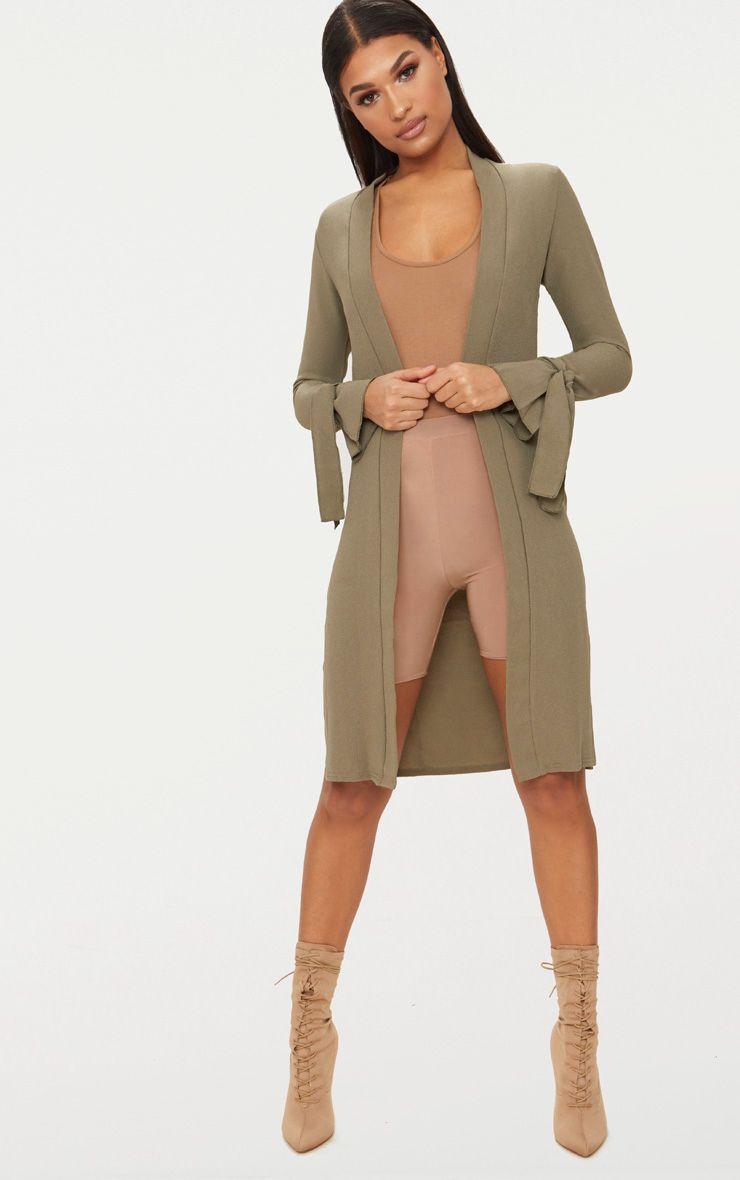 Aba Khaki Sleeve Tie Detail Duster Jacket