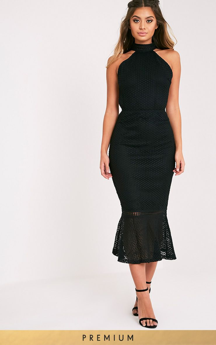 Kymmie Black Lace High Neck Midi Dress