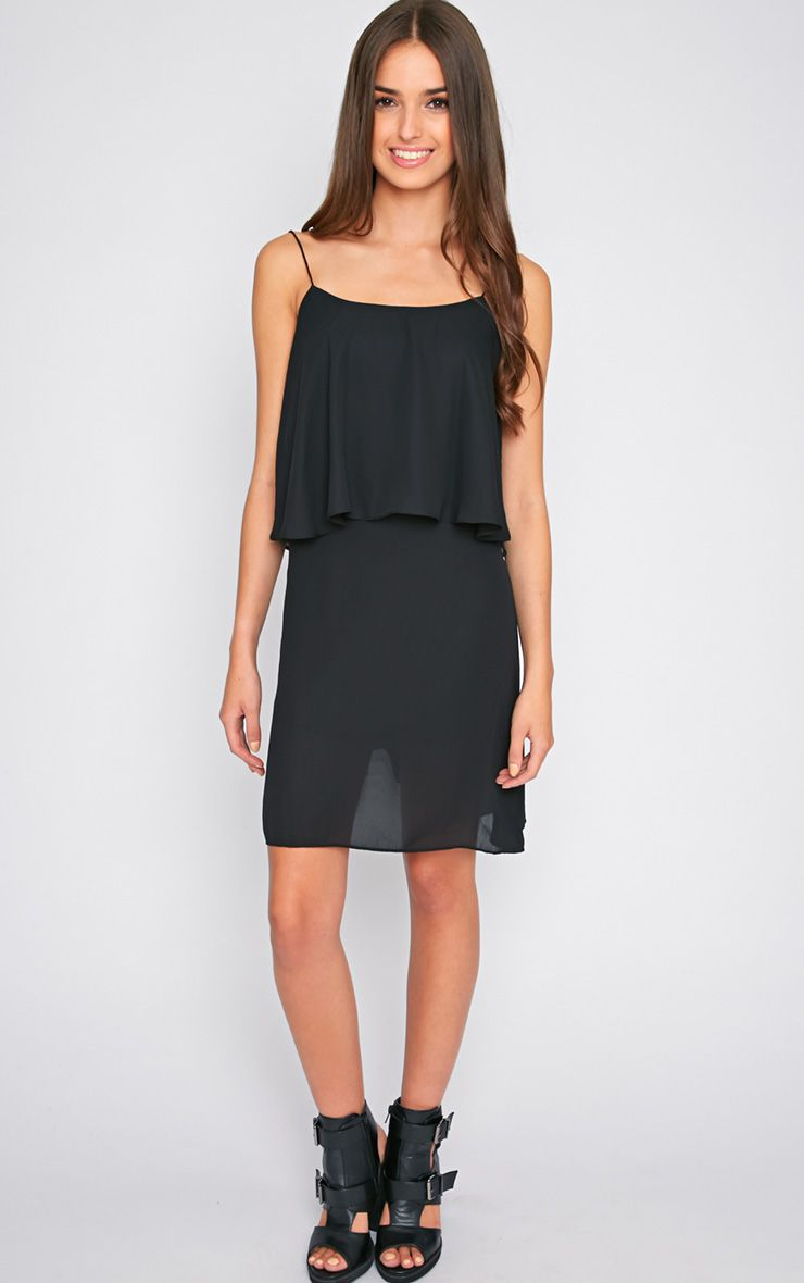 Ariella Black Chiffon Swing Dress-S/M 1