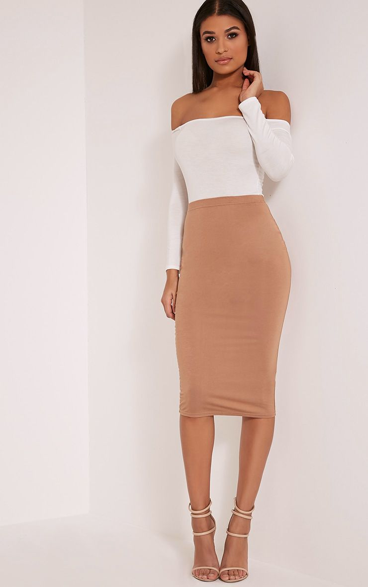 Basic Camel Midi Skirt