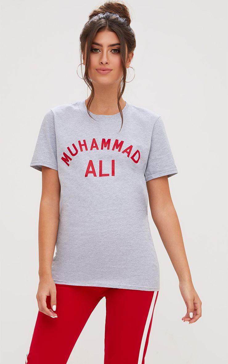 Grey Muhammad Ali Slogan Oversized T Shirt