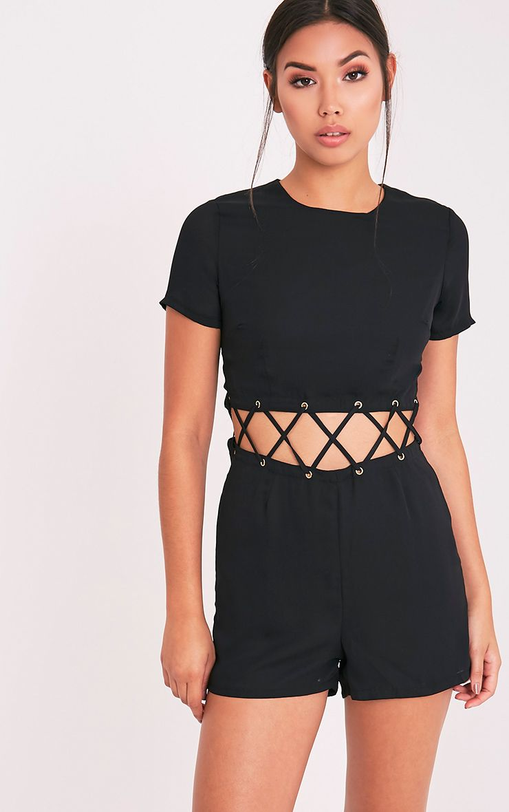 Sophi Black Strappy Detail Playsuit 1