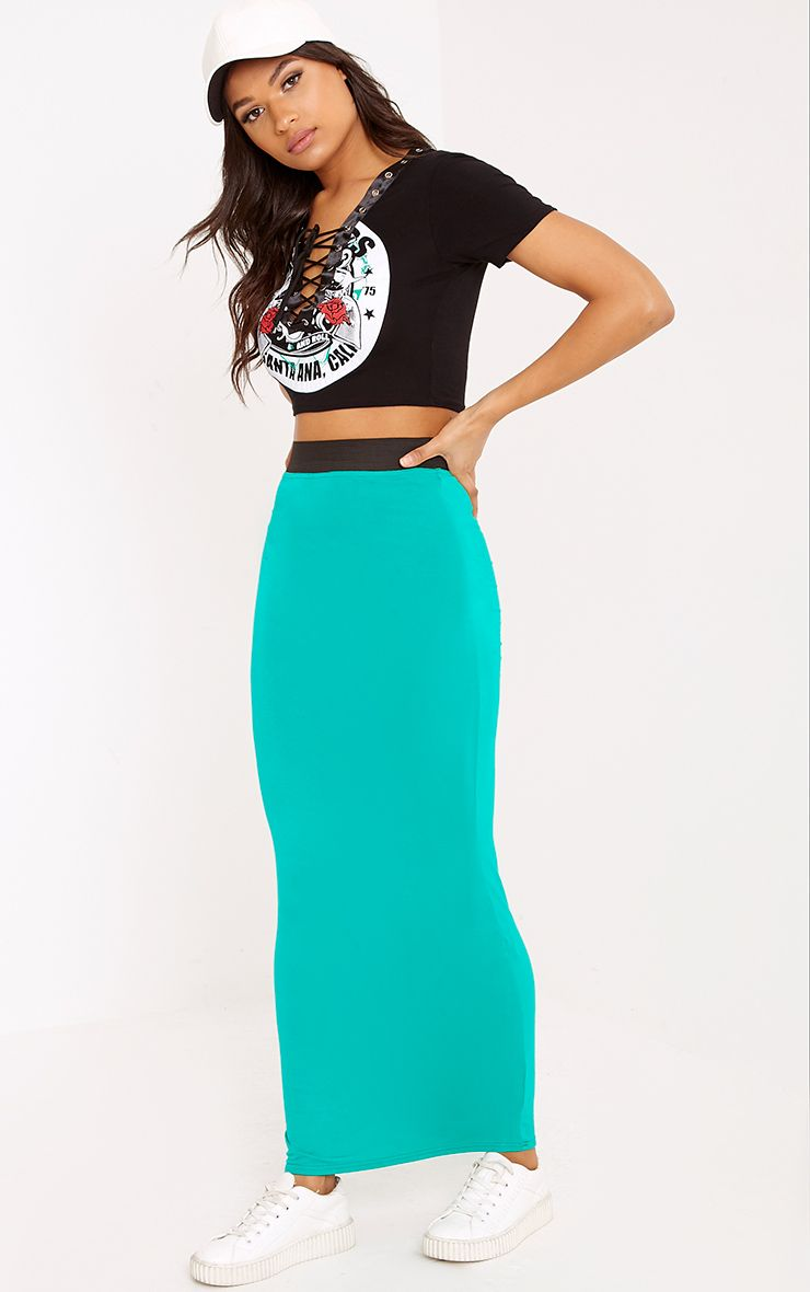 Basic Jade Green Maxi Skirt 1