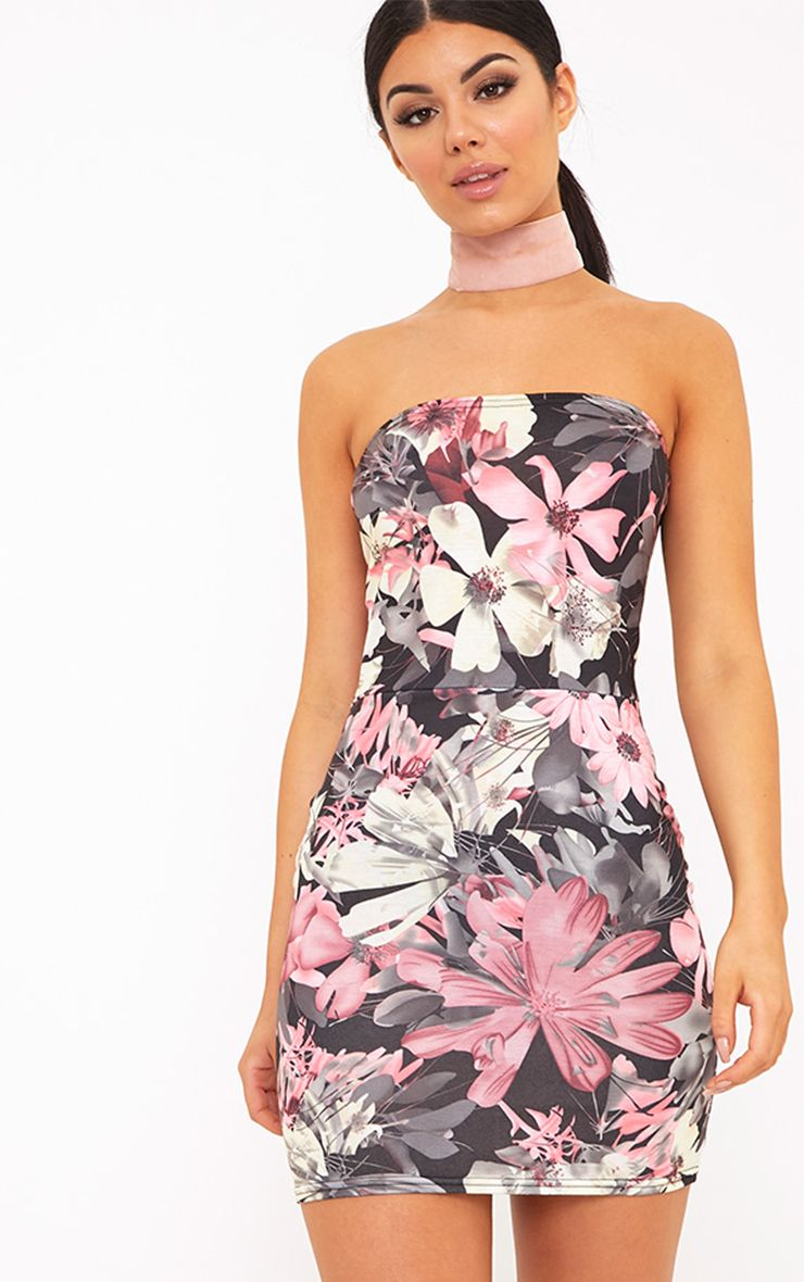 Christia Pink Floral Bandeau Bodycon Dress