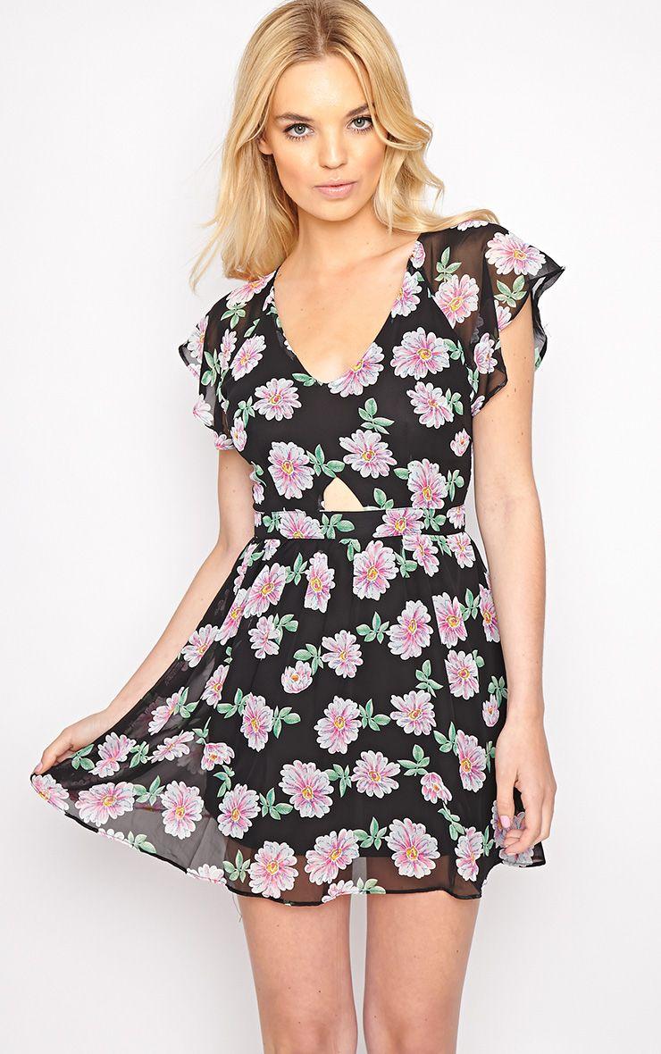 Greta Black Floral Cut Out Chiffon Dress 1