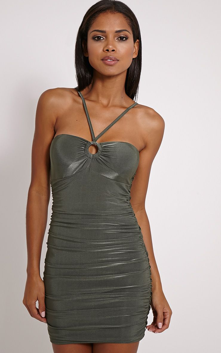 Palia Khaki Slinky Tie Neck Mini Dress 1