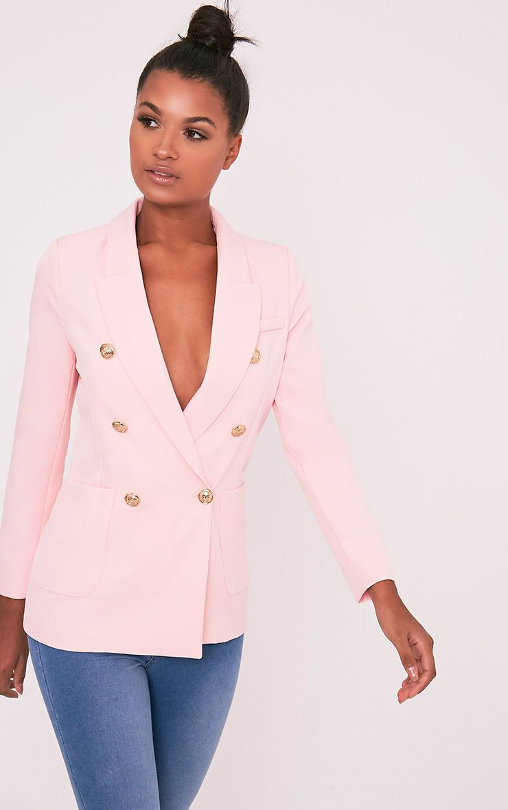 Pari Pink Double Breasted Military Style Blazer 1